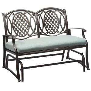 Click here to buy Hampton Bay Belcourt Metal Outdoor Glider with Spa Cushion by Hampton Bay.
