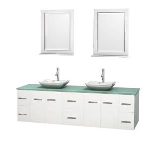 Wyndham Collection Centra 80 inch Double Vanity in White with Glass Vanity Top in Green, Carrera Marble Sinks and 24... by Wyndham Collection