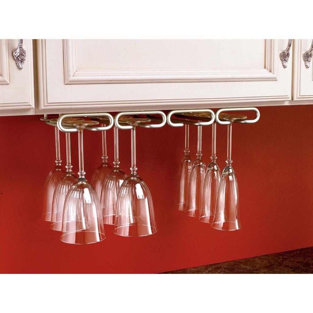 D Satin Nickel Under Cabinet Quad Wine Glass Holder 3450 11SN   The Home  Depot