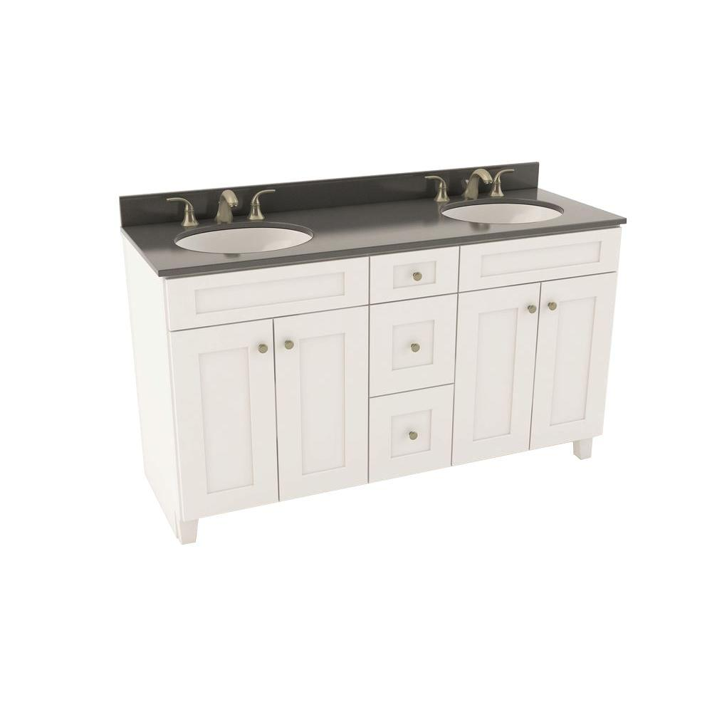 . American Woodmark Reading 61 in  Vanity in Linen with Silestone Quartz  Vanity Top in Marengo and Oval White Double Basin