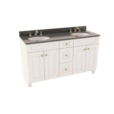 Reading 61 in. Vanity in Linen with Silestone Quartz Vanity Top in Marengo and Oval White Double Basin