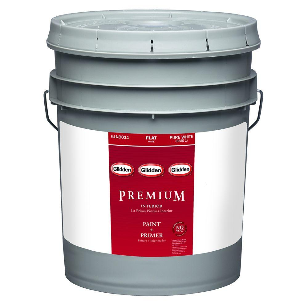 Glidden Premium 5 Gal. White Flat Interior Paint-GLN9013