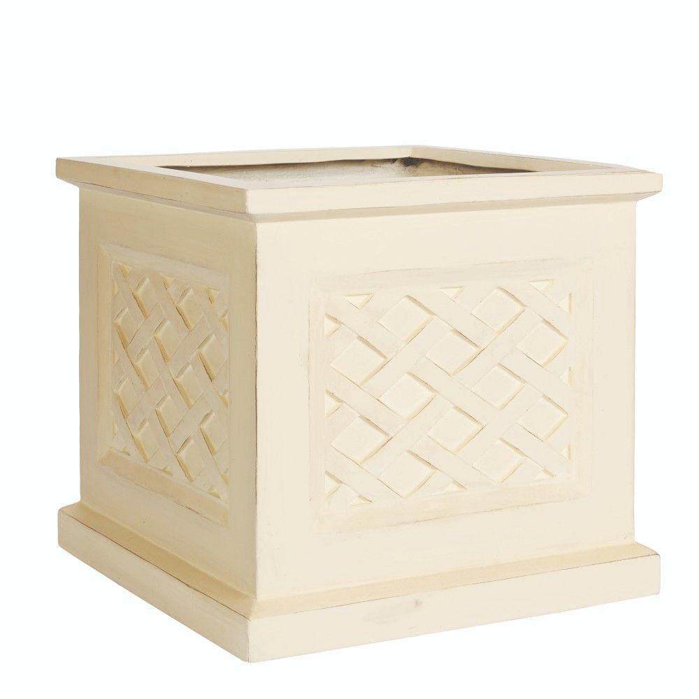 Home Decorators Collection 18 in. Square Aged Limestone Clay Lattice Planter