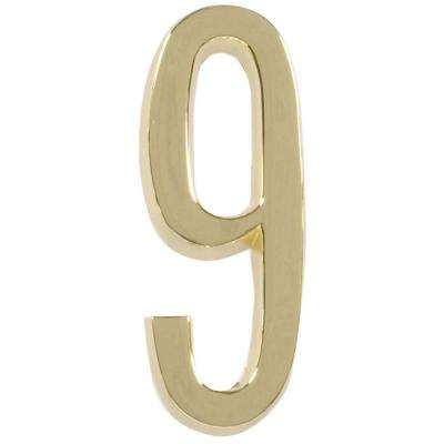 4 in distinctions brass plated number 9
