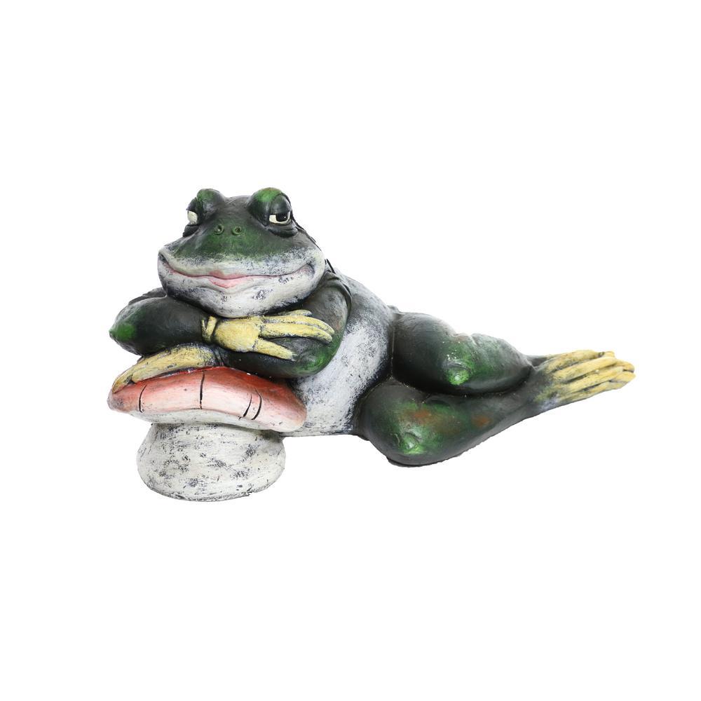 Alpine Sleeping Frog on Mushroom Statue