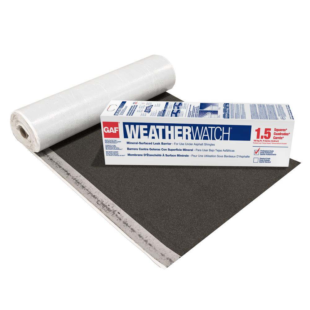Gaf Weatherwatch 150 Sq Ft Mineral Surfaced Peel And Stick Roof Leak Barrier Roll 0912000 The Home Depot