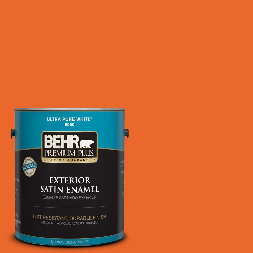 1-gal. #220B-7 Electric Orange Satin Enamel Exterior Paint