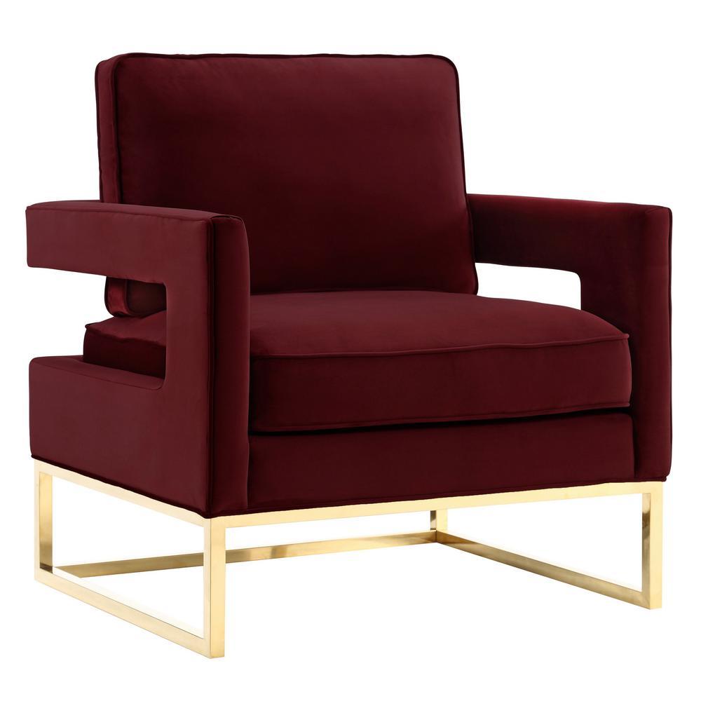 TOV Furniture Avery Maroon Velvet Chair