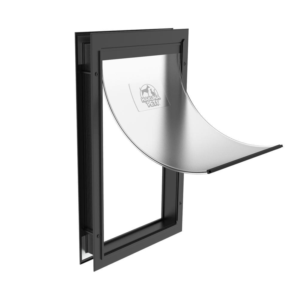 14.6 in x 23.4 in Extra Large Deluxe Aluminum Pet Door Adjustable Tunnel in Black