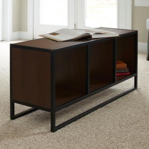 Walnut Coffee Table With Storage Cubes Metal And Wood