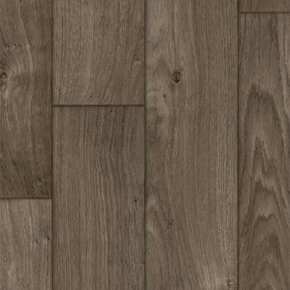 Ash Brown Oak Wood Residential Vinyl Sheet Flooring 13.2ft. Wide x Cut to Length