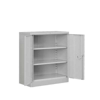8000 Series 2-Shelf Heavy Duty Metal Counter Height Assembled Storage Cabinet in Gray