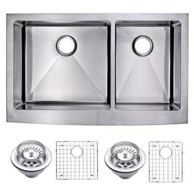Farmhouse Apron Front Stainless Steel 36 in. Double Bowl Kitchen Sink with Strainer and Grid in Satin