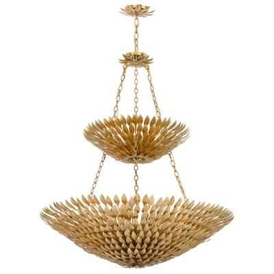 Broche 18-Light Antique Gold Leaf Pendant Chandelier