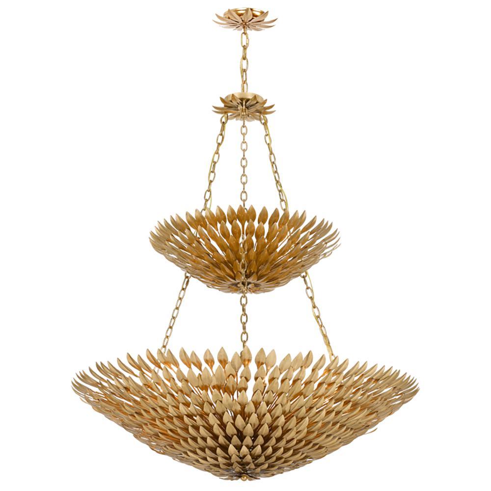 Broche 18-Light Antique Gold Leaf Pendant Chandelier