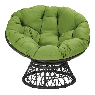 Papasan Chair with Green Round Pillow-Top Cushion and Black Frame