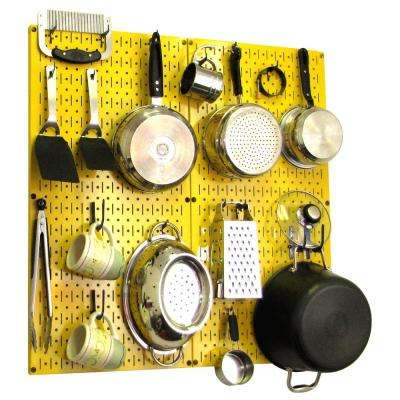 Kitchen Pegboard 32 in. x 32 in. Metal Peg Board Pantry Organizer Kitchen Pot Rack Yellow Pegboard and Blue Peg Hooks