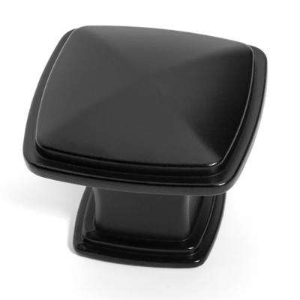 1-1/4 in. Flat Black Square Cabinet Knob (25-Pack)