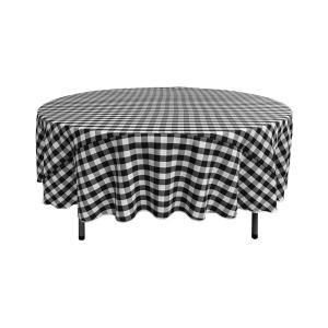 72 in. White and Black Polyester Gingham Checkered Round Tablecloth