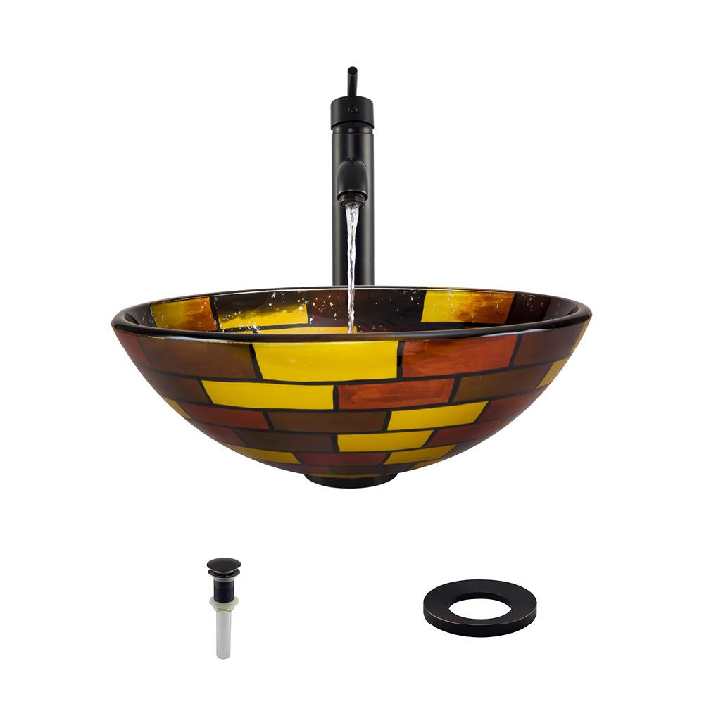 Glass Vessel Sink in Stained Glass with 718 Faucet and Pop-Up