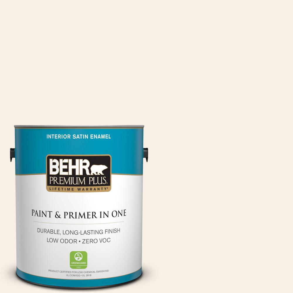 BEHR Premium Plus 1-gal. #OR-W14 White Veil Satin Enamel Interior Paint