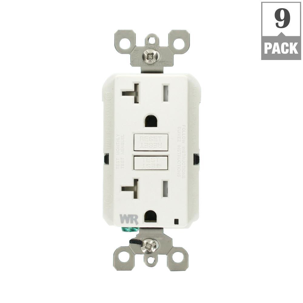 20 Amp 125-Volt Duplex Self-Test Tamper Resistant/Weather Resistant GFCI Outlet, White (9-Pack)