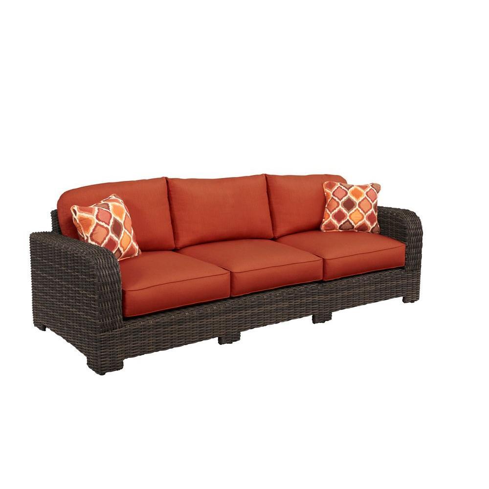 Brown Jordan Northshore Patio Sofa with Cinnabar Cushions and Empire Chili Throw Pillows -- CUSTOM
