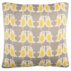 Sweet Penguin Light Grey and Yellow Animal Print Down Alternative 20 in. x 20 in. Throw Pillow