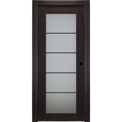 30 in. x 80 in. Avanti Black Apricot Left-Hand Solid Core Wood 5-Lite Frosted Glass Single Prehung Interior Door