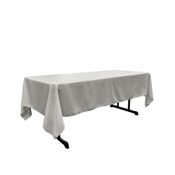 60 in. x 102 in. Light Gray Polyester Poplin Rectangular Tablecloth