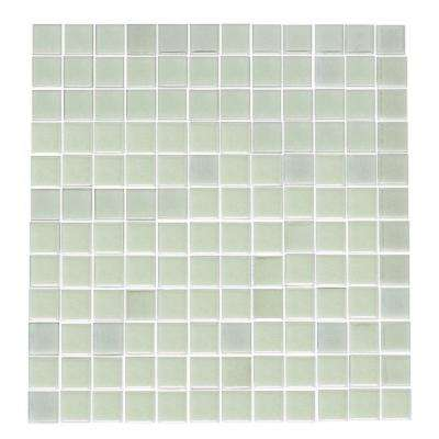 12 in. x 12 in. x 4mm Tile Esque White Glow in the Dark Recycled Glass Mesh-Mounted Mosaic Tile
