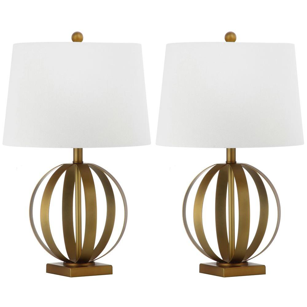 Euginia Sphere 24.5 in. Gold Table Lamp with White Shade (Set