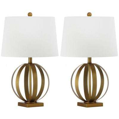 Euginia Sphere 24.5 in. Gold Table Lamp with White Shade (Set of 2)