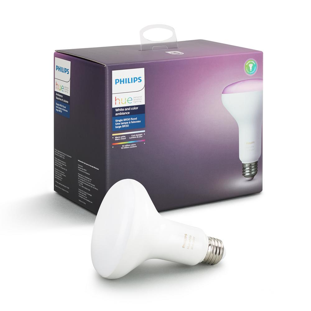 Philips Hue White and Color Ambiance BR30 LED 65W Equivalent Dimmable Wireless Flood Smart Light