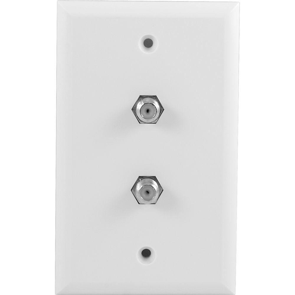 GE 2 F-Connector Plastic Wall Plate - White