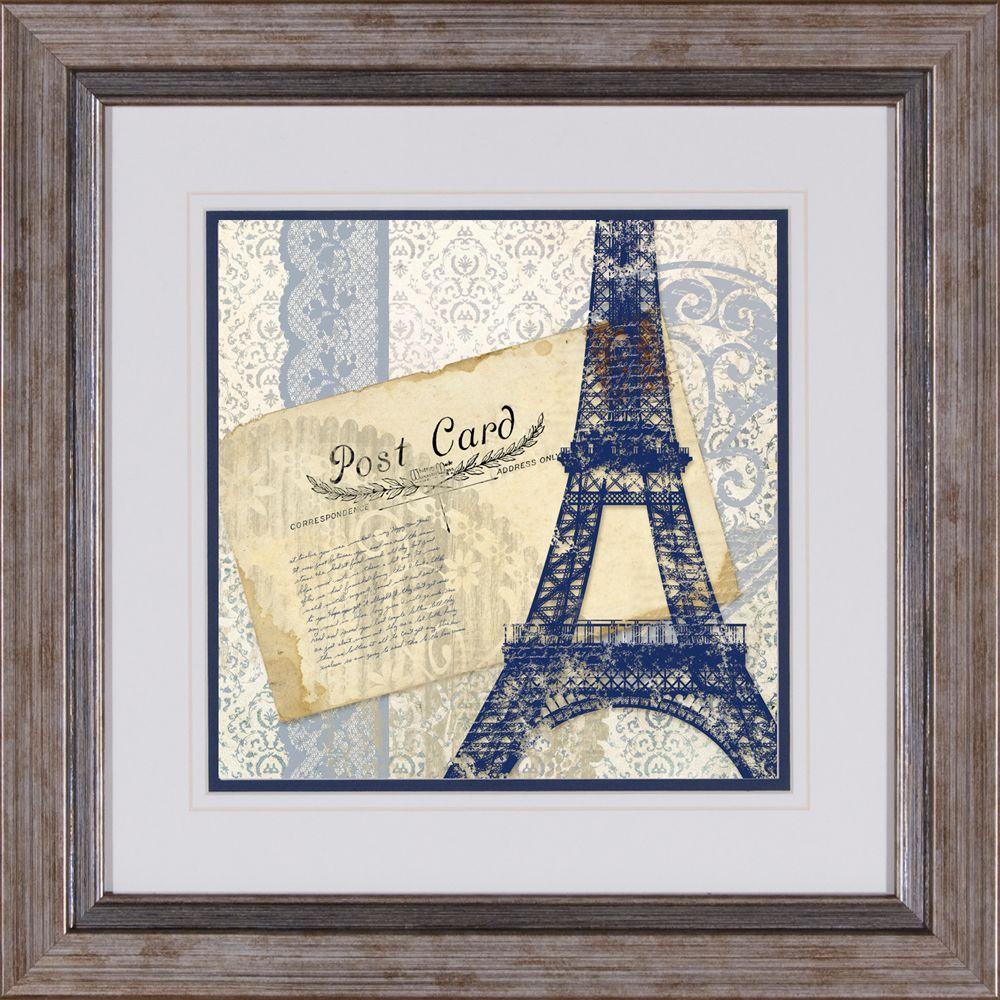 """17 in. x 17 in. """"Postcard Bleu A"""" Framed Wall Art"""