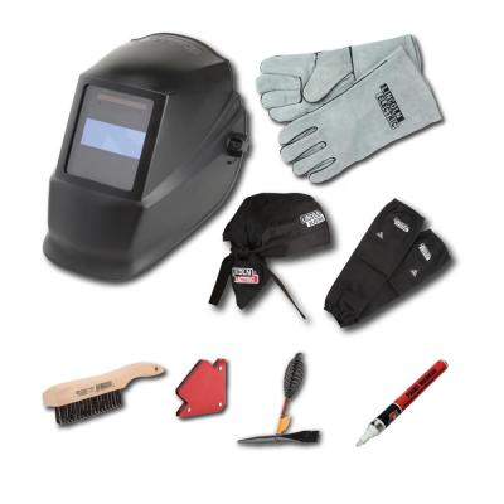 Auto-Darkening Welding Helmet Starter Kit with No. 11 Lens, Gloves, Wire Brush, Magnet, Chipping Hammer and Marker
