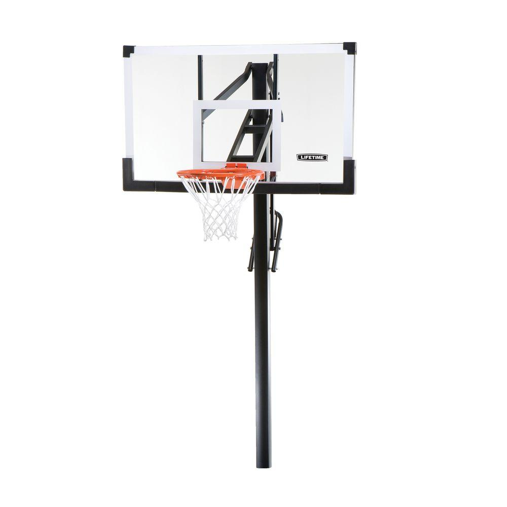 Tempered Glass Power Lift In Ground Basketball System