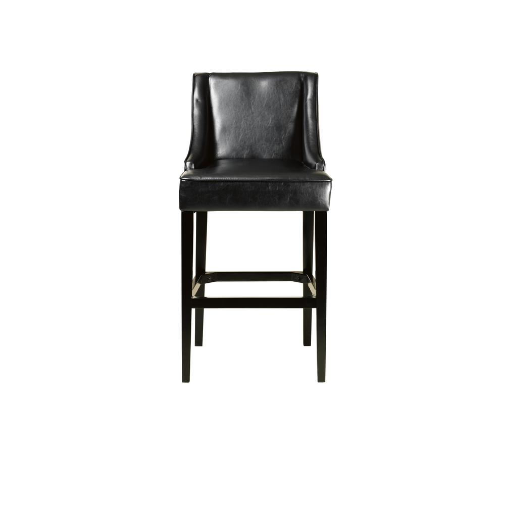 premium selection 8a749 4f1c5 31 in. Black Cushioned Bar Stool with Back