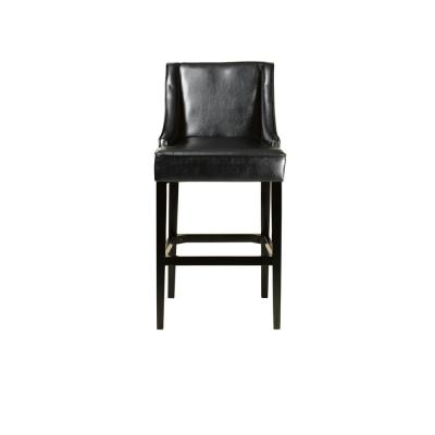 31 in. Black Cushioned Bar Stool with Back