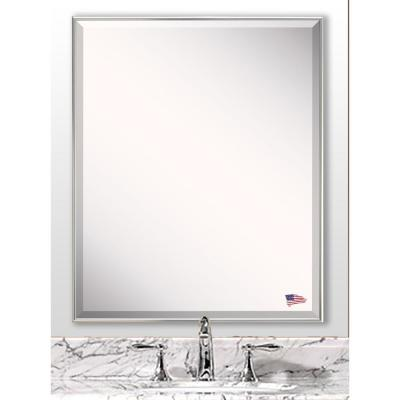 27.125 in. x 21.125 in. Echo Polished Silver Beveled Vanity Wall Mirror
