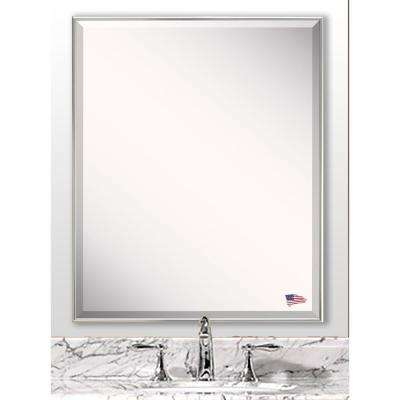 32.125 in. x 28.125 in. Echo Polished Silver Beveled Vanity Wall Mirror