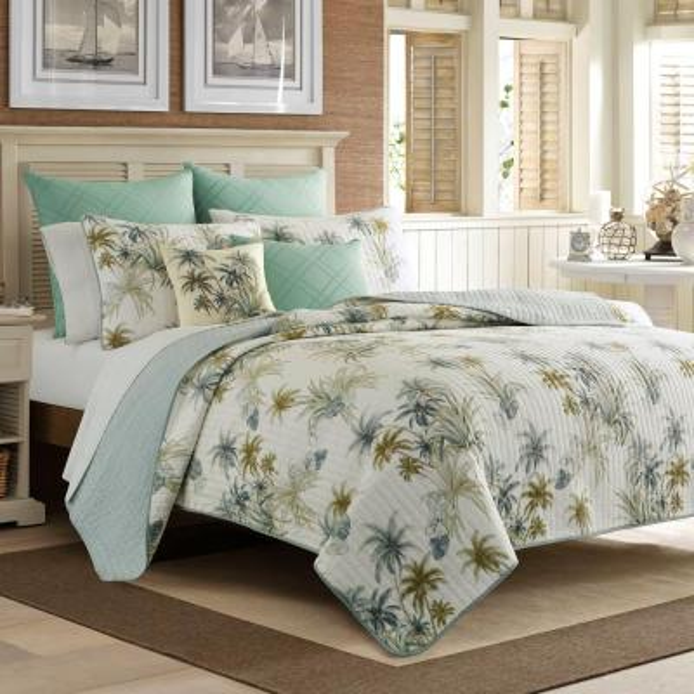 Serenity Palms 1-Piece Blue Cotton King Quilt