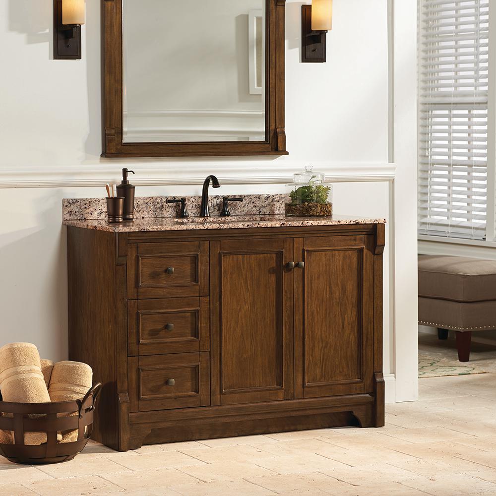 Creedmoor 49 in. W x 22 in. D Vanity in Walnut with Granite Vanity Top in Beige with White Sink