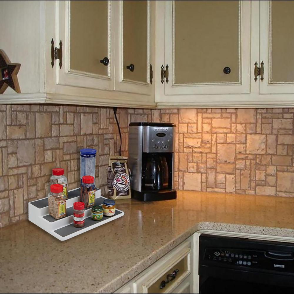 Mind Reader Tier Plastic Step Storage Spice Rack Shelf Organizer - Plastic spice racks for kitchen cabinets