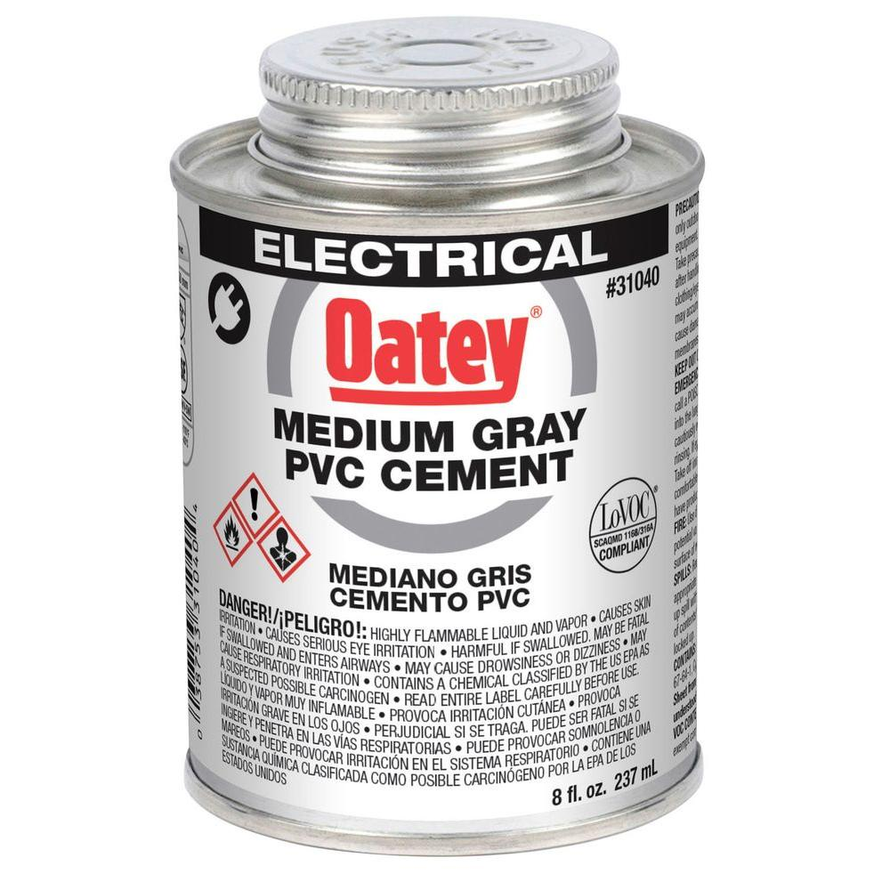 Oatey 8 oz. PVC Electrical Solvent Cement Gray-31040 - The Home Depot