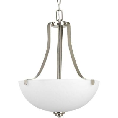 Legend Collection 3-Light Brushed Nickel Foyer Pendant with Sculpted Glass