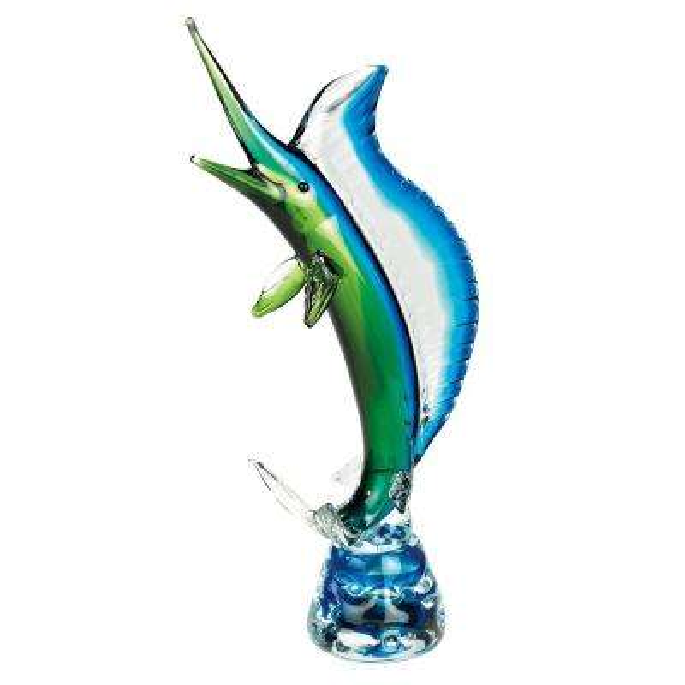 Murano Style Art Glass 26 in. Tall Sealife Large Sailfish