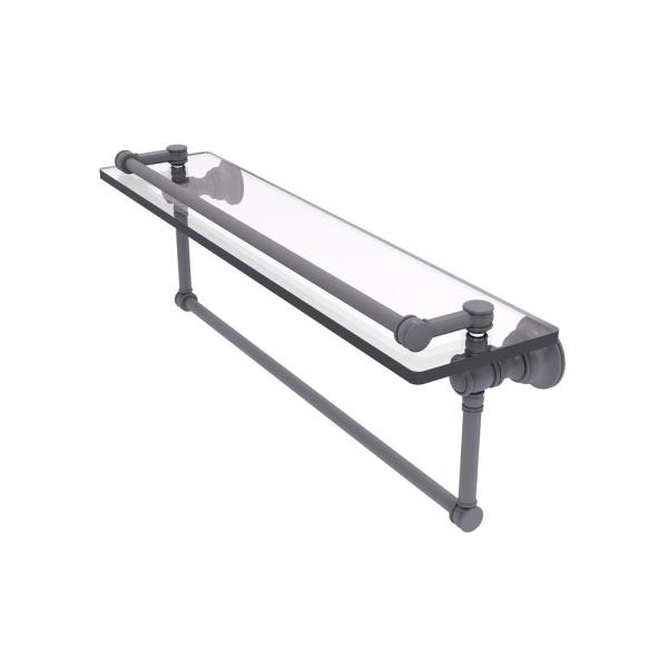 Allied Brass Carolina 22 In Gallery Glass Shelf With Integrated Towel Bar In Matte Gray Cl 1 22tb Gal Gym The Home Depot