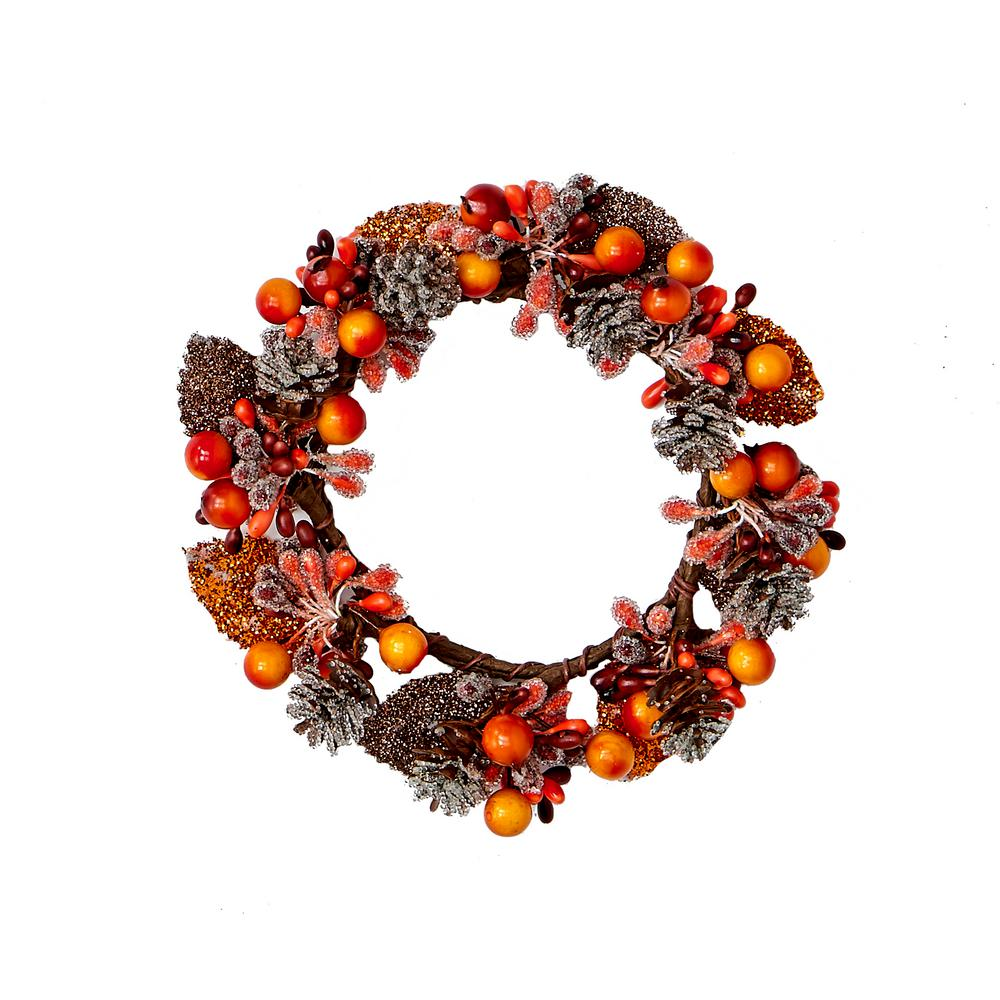 Worth Imports 6 in. Fall Berry and Candle Ring (Set of 2)